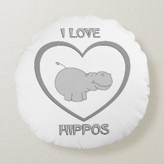 Almofada Redonda Eu amo hipopótamos