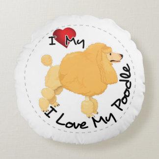 Almofada Redonda Eu amo meu cão de caniche