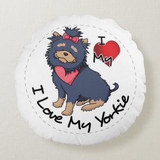 Almofada Redonda Eu amo meu cão de Yorkie