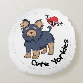Almofada Redonda Eu amo meu cão engraçado & bonito adorável feliz