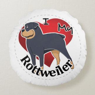 Almofada Redonda Eu amo meu Rottweiler engraçado & bonito adorável