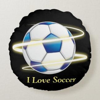 Almofada Redonda Eu amo o futebol com monograma