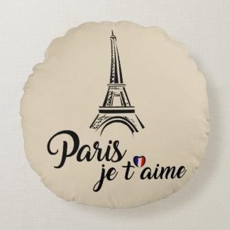 Almofada Redonda Eu amo o t'aime de Paris Je