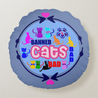 Almofada Redonda família de gato impertinente do ↷❤Cute do 😻🐾