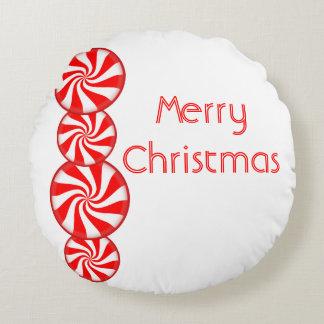 Almofada Redonda Feliz Natal dos doces de Peppermint