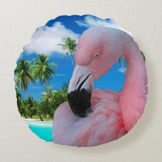 Almofada Redonda Flamingo e praia