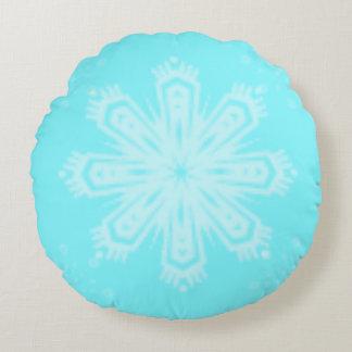 Almofada Redonda Floco de neve no azul brilhante