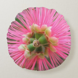 Almofada Redonda Flor cor-de-rosa da árvore de goma