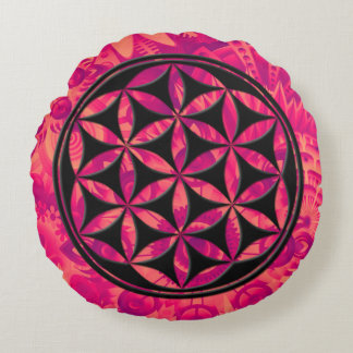 Almofada Redonda Flor das chamas (preto)