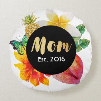 Almofada Redonda Floral tropical da mamã do roteiro do ouro