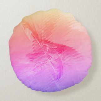 Almofada Redonda Fractal cor-de-rosa do abstrato do Lilac