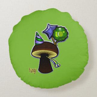 Almofada Redonda Fungos - desenhos animados maus da chalaça