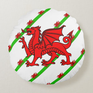 Almofada Redonda Galês listra a bandeira