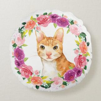 Almofada Redonda Gato de gato malhado alaranjado com o travesseiro