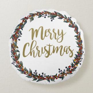 Almofada Redonda Grinalda da aguarela - Feliz Natal - ramos