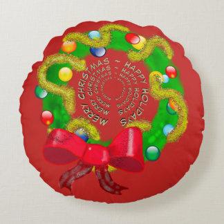 Almofada Redonda Grinalda do Natal dos Arty com mensagem do feriado