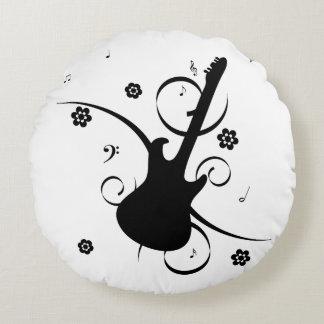 Almofada Redonda Guitarra elétrica preta com teste padrão floral