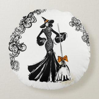 Almofada Redonda ilustração da forma do Dia das Bruxas com laço