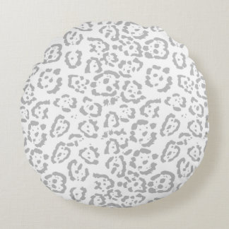 Almofada Redonda Impressão animal cinzento do gato de leopardo da