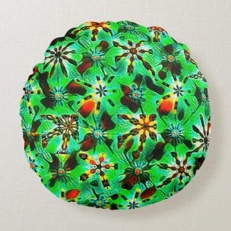 Almofada Redonda Impressão de bloco do caleidoscópio no verde da