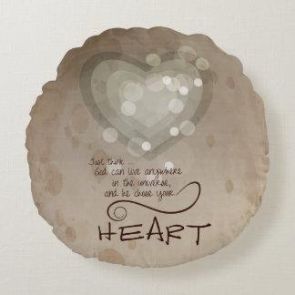 Almofada Redonda Incentivo religioso do coração, Grunge