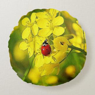 Almofada Redonda Joaninha amarelo do vermelho da boa sorte da flor