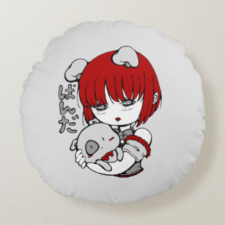 Almofada Redonda kawaii animal manga girl