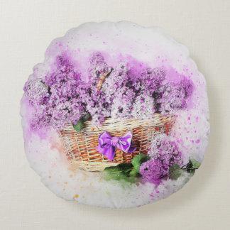 Almofada Redonda Lilacs do chique do vintage na cesta