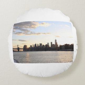 Almofada Redonda Linha do céu de New York