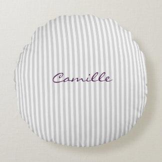 Almofada Redonda listras brancas e cinzentas personalizadas pelo