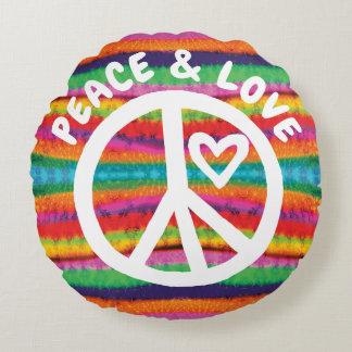 Almofada Redonda Listras da tintura do laço da paz e do amor