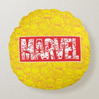 Almofada Redonda Logotipo da maravilha de Kawaii com teste padrão