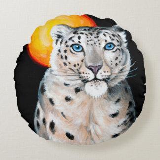 Almofada Redonda Lua do leopardo de neve