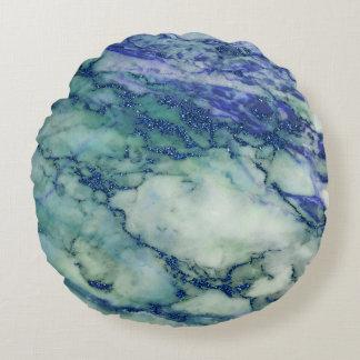 Almofada Redonda Luz - textura de mármore azul verde