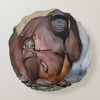 Almofada Redonda Mamã e bebê do orangotango