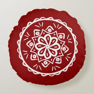 Almofada Redonda Mandala da framboesa