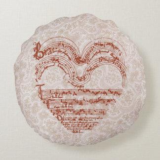 Almofada Redonda Manuscrito medieval da música da forma do coração