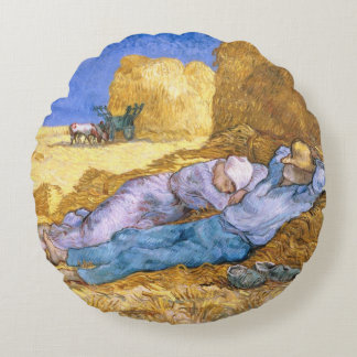 Almofada Redonda Meio-dia de Vincent van Gogh  , o Siesta, após o