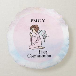 Almofada Redonda Menina, primeiro anjo do comunhão