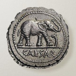 Almofada Redonda Moeda romana do imperador de Caesar do elefante