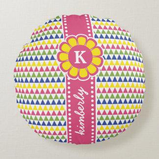 Almofada Redonda Monograma geométrico colorido na moda da flor do