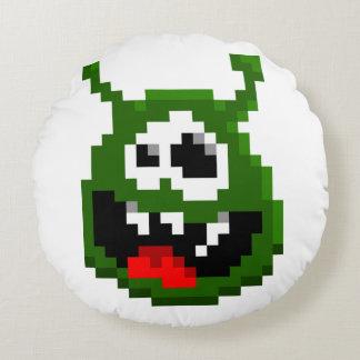 Almofada Redonda Monstro verde - arte do pixel