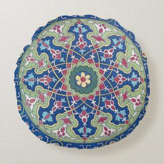 Almofada Redonda Motivo árabe azul e prudente profundo