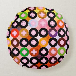 Almofada Redonda Multi círculos coloridos legal & trevos