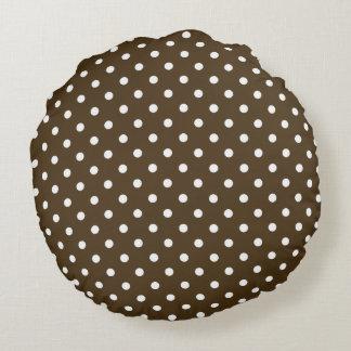 Almofada Redonda Na moda-Brown-Polca-Ponto-Tradicional-Redondo