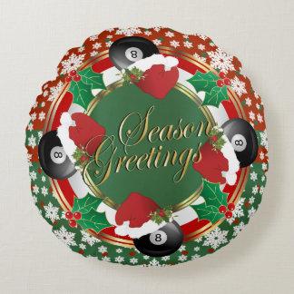 Almofada Redonda Natal do amante dos bilhar