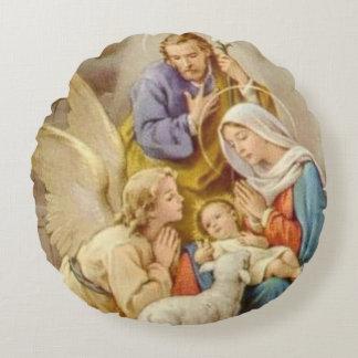 Almofada Redonda Natividade St Joseph do Natal, Mary, Jesus, anjo