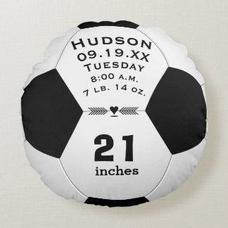 Almofada Redonda Nome da bola de futebol e Stats personalizados do