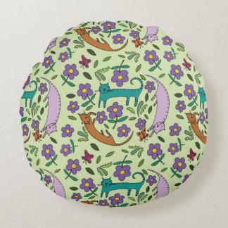 Almofada Redonda O gato Naps em volta do travesseiro pelo design da