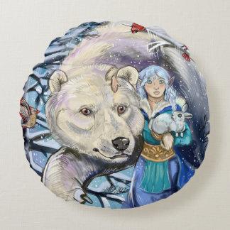 Almofada Redonda O inverno enrola Polarbear